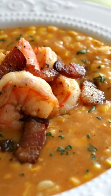 Sweet Corn, Peppered Bacon and Shrimp Chowder..