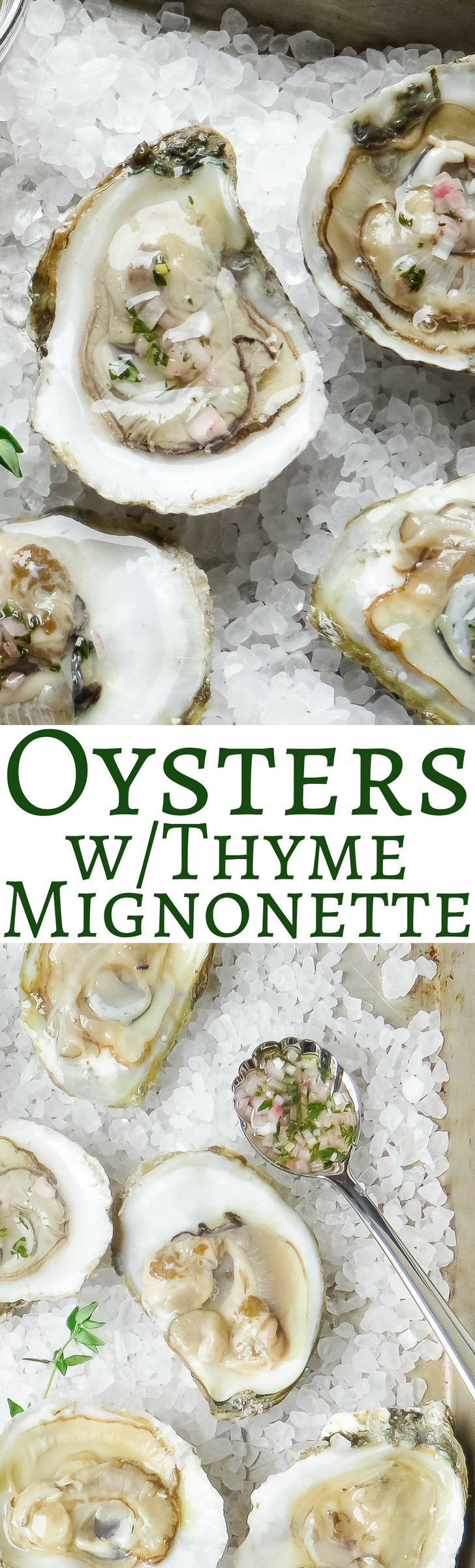 Fresh shucked oysters on the half shell with a light thyme mignonette!   via @GarlicandZest