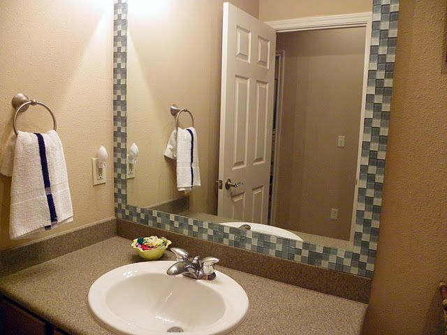 Tutorial for creating this glass tile frame for a bathroom mirror. Pretty simple.