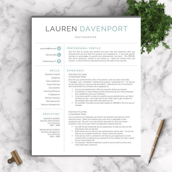 Modern Resume Template / Professional Resume Template for Word and Pages + Cover Letter | Modern CV Template | Instant Download Resume