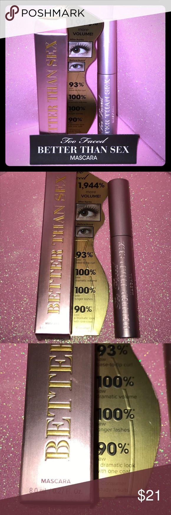 TOO FACED Better Than Sex Mascara FULL SIZE/NEW! This is for TOO FACED Better Than Sex Mascara. It is full size and comes new in box. (It was removed from the box to take pictures for this sale and then promptly it back in the original housing.) Included in this sale are the original unused product, the original box and a Too Faced product insert. PLEASE NOTE: ALL MY PRODUCTS ARE 100% AUTHENTIC! In the case of this Mascara it was purchased for me at Sephora in JCPenney. I am choosing not to…