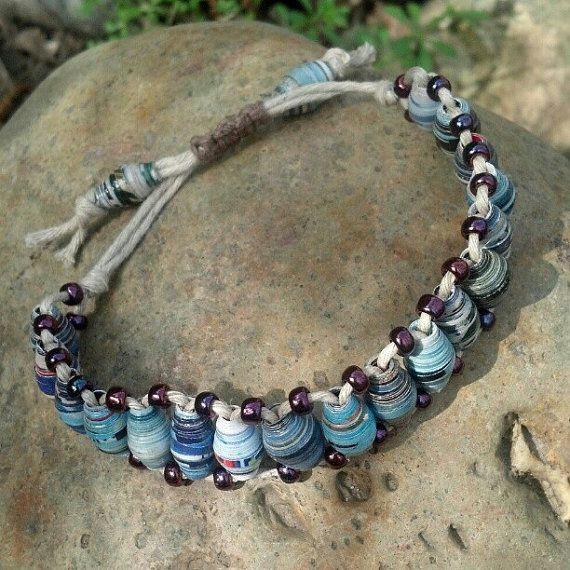 Recycled paper bead bracelet by DemetersLoveAffair