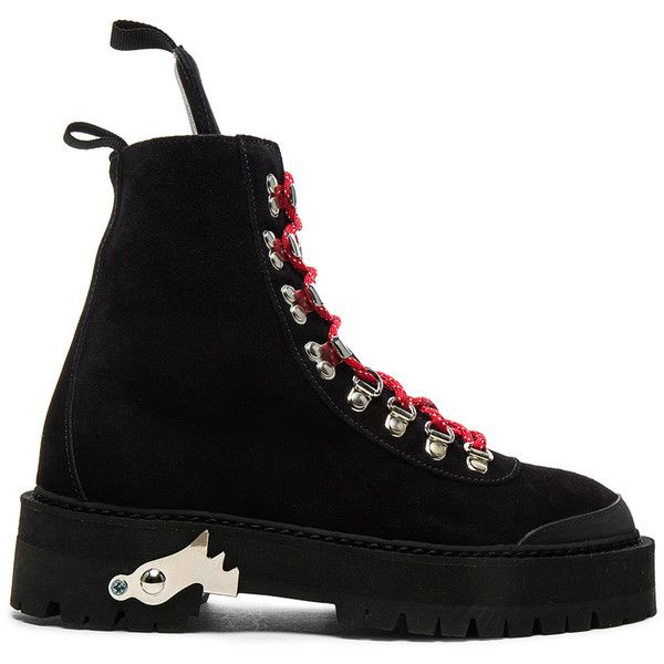 OFF-WHITE Suede Hiking Mountain Boots ($1,015) ❤ liked on Polyvore featuring shoes, boots, ankle boots, rubber sole shoes, short suede boots, mid-heel shoes and suede bootie
