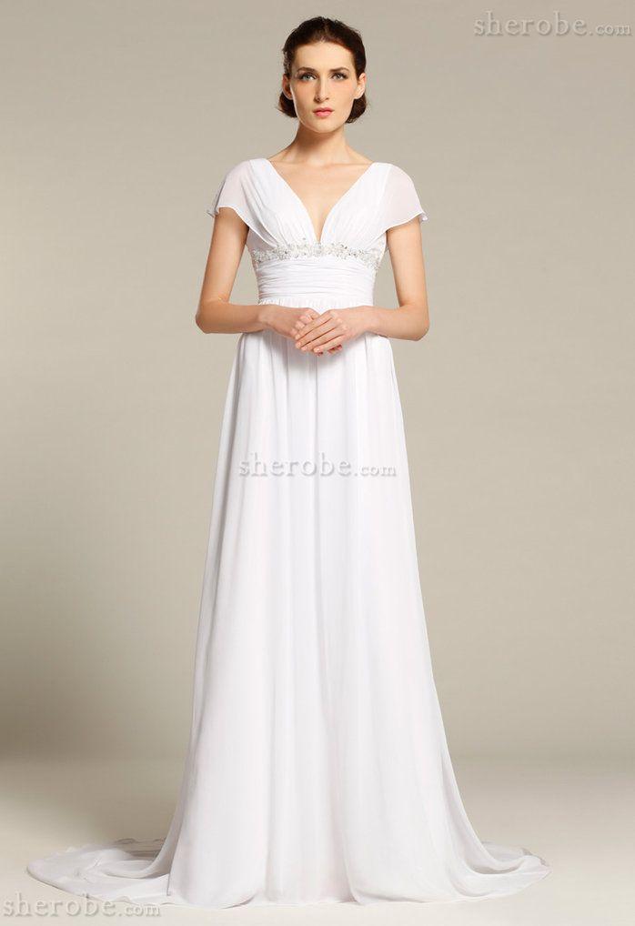 Robe de mariée appliques d'empire fourreaux plissés ruché avec manche courte - Photo 1