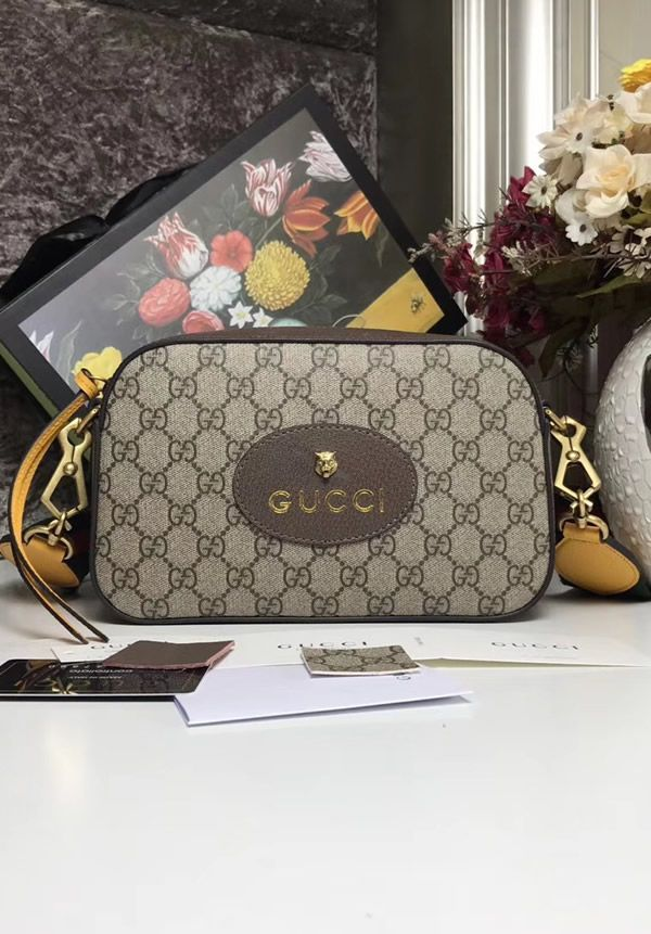 d6e89b69b5fb64 The Gucci GG Supreme messenger bag with Brown and Yellow Leather Trim is  suitable for women who have busy lifestyles and who are looking for a  compact bag ...