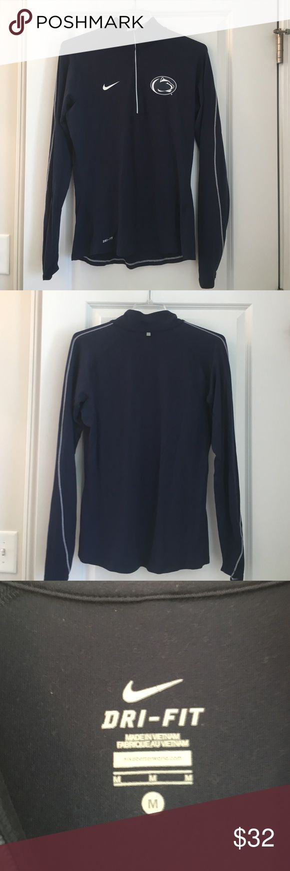 Penn state Nike pull over Worn once women's penn state pull over half zip dri fit Nike shirt, blue with penn state logo. The trim is in white and white Nike logo on opposite side of Psu logo. Reasonable offers welcome Nike Tops Tees - Long Sleeve