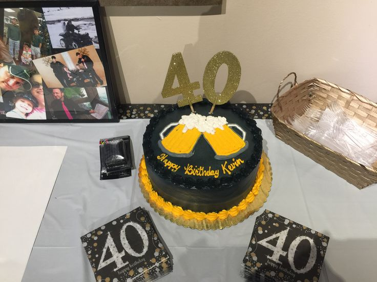 Cheers And Beers To 40 Years Cake Birthday Party Ideas
