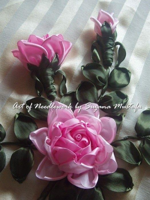 Объемные розы из атласных лент мастер класс