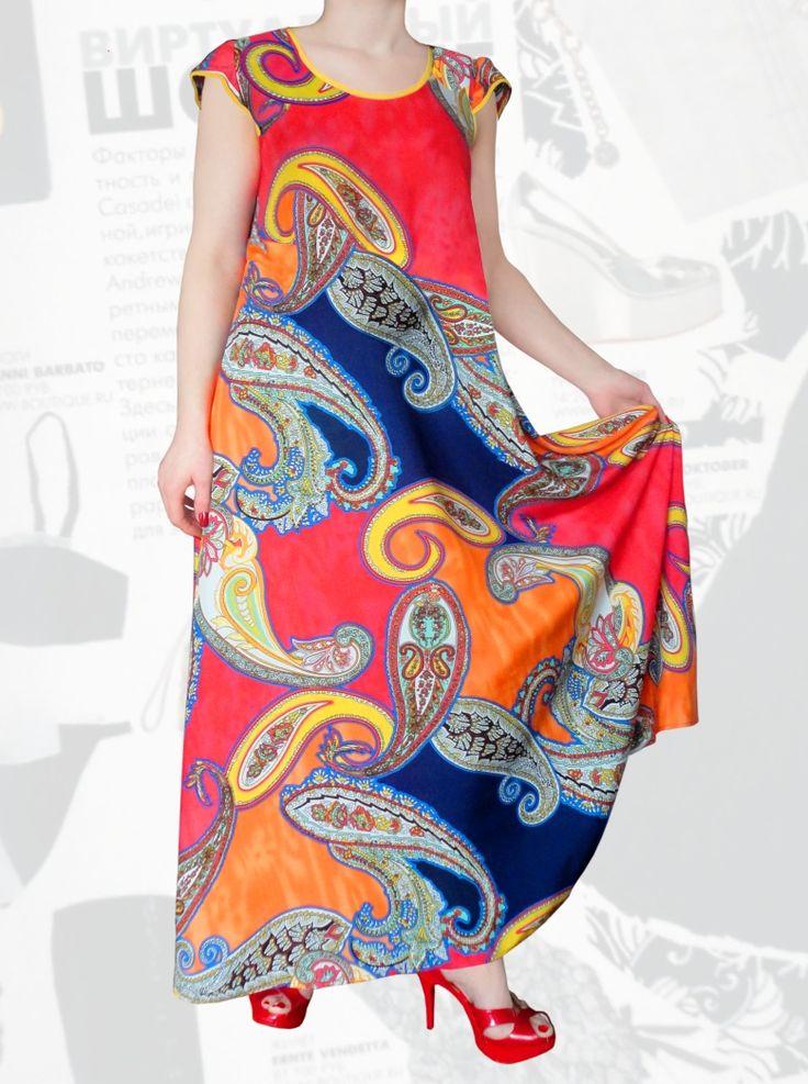 33$ Летнее платье из штапеля свободного покроя для полных девушек с коротким рукавом или с рукавом колокольчик Артикул 668, р50-64