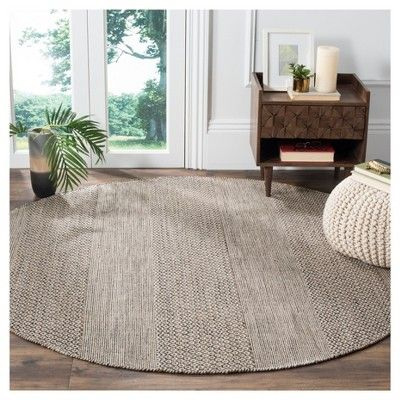 Ivory/Anthracite (Ivory/Grey) Abstract Flatweave Woven Round Area Rug - (6') - Safavieh
