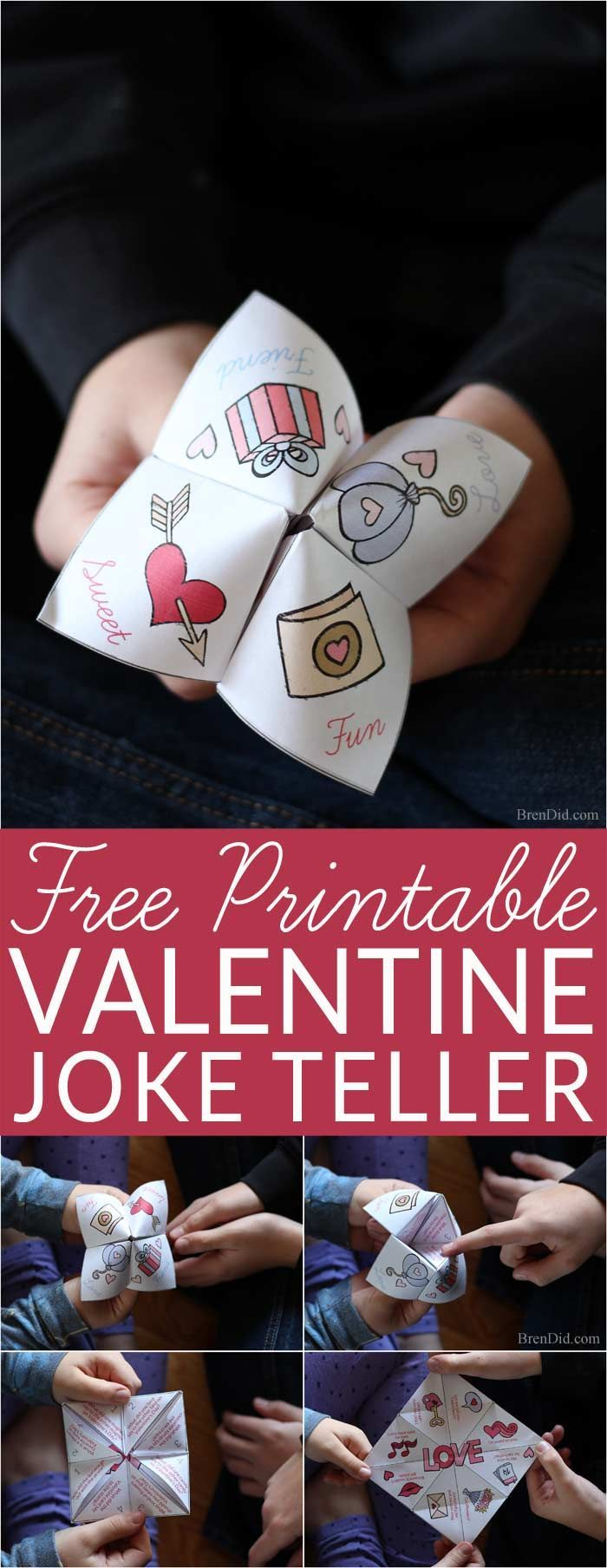 Fun idea for kids! Silly fortune teller (cootie catcher) filled with kid friendly Valentine jokes. Get your free printable Valentine Joke Teller for non-candy Valentines, Valentine gifts, and family fun.