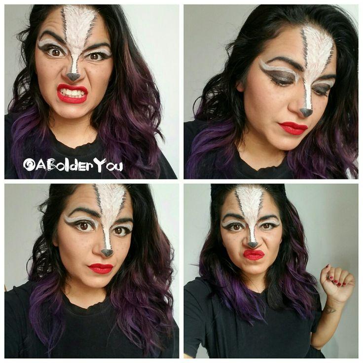 Halloween makeup, Skunk , #AllYouniqueHalloween, makeup mask