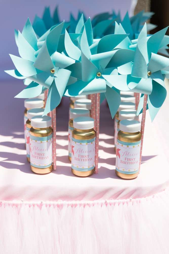 Bubble favors at a polka dots and pinwheels birthday party! See more party ideas at CatchMyParty.com!