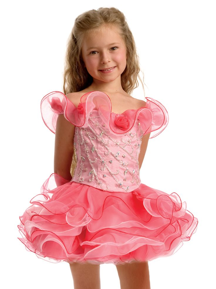 Sweet pageant dress for toddlers by Perfect Angels pageant 1398. This short dress has an off the shoulder ruffles with small flowers, gorgeous beaded bodice and a circle keyhole on the top of the back. A multi color ruffle organza short skirt completes the look of this little girl short pageant dress. This beautiful dress will make your special day even brighter.