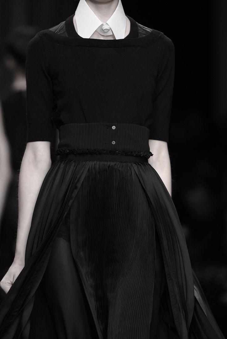 Black dress with contrasting fabrics & crisp white collar; fashion details // Antonio Marras Fall 2011