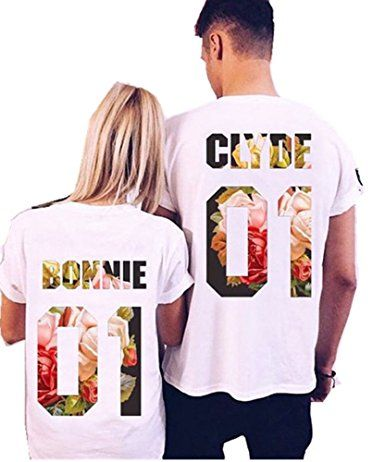 Clyde+Bonnie 01 Matching round neckT-Shirts, Couple Outfit (White)