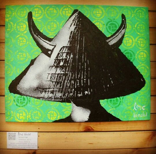 "In #china , never #wear or #offer a #green #hat. #mandarin for ""wearing a green hat"" 戴绿帽子 (dài lǜ mào zi)  is a #popular #saying meaning being a #cuckold. My #green #hat #canvas on #show at N°91 #cafe and #bar (china, Shanghai, xuhui district, wuyuan road). #Order #online, #worldwide #shipping www.etsy.com/fr/shop/lovevandal/"