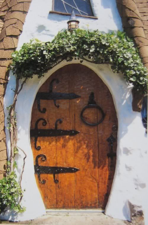Wooden door of storybook-style house