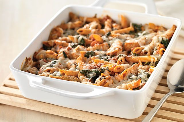 Serve our Three-Cheese Chicken Pasta Bake and savor the compliments! With spinach, basil and three types of cheese, this chicken pasta bake can't be beat!