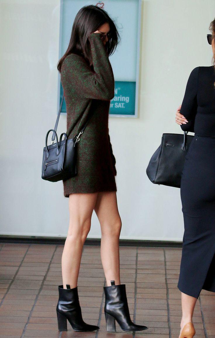 Mini dress, boots, Celine.