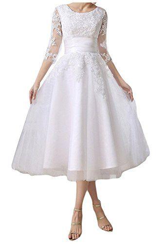 HotGirls 3/4-Arm Tee Längen Spitze Hochzeitsempfang Kleid schnüren sich oben (42, Weiß)