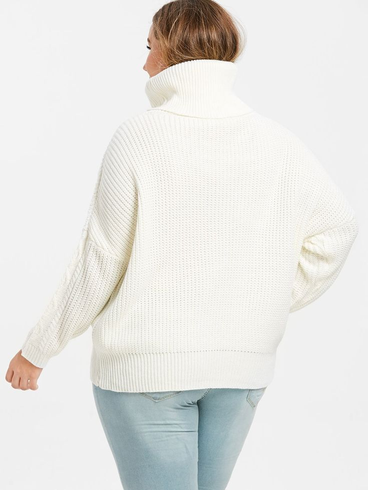 Plus Size Turtleneck Pullover Sweater 1