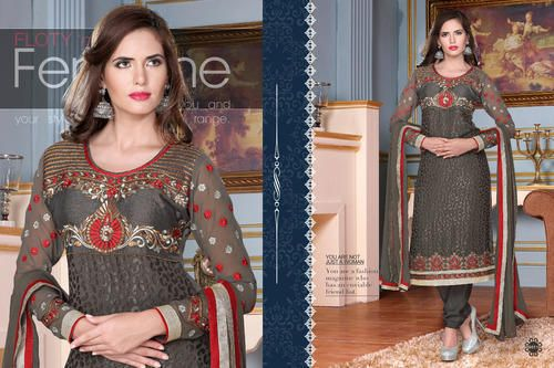 Ethnic Party Wear  Georgette Brasso Semi-Stitched straight cut Grey and Red Salwar suit with heavy thread embroidery. Comes with Santoon Inner And Bottom and Chiffon dupatta.