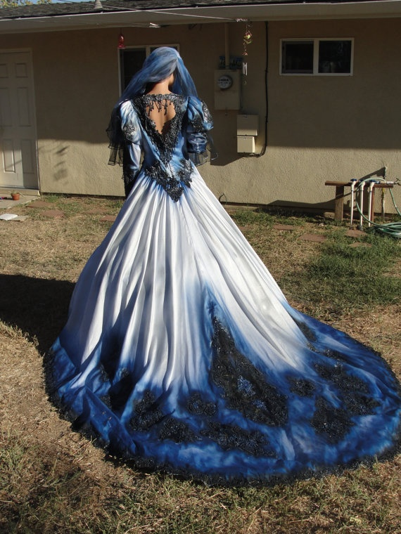 gothic wedding gown in metalic blue and black with matching veil hand painted and dyed halloween costume undead bride Sara D this is for you!!