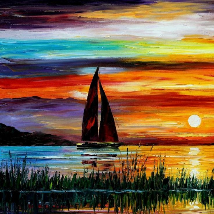 Sunset Paintings Leonid Afremov Sailboats Oil Painting