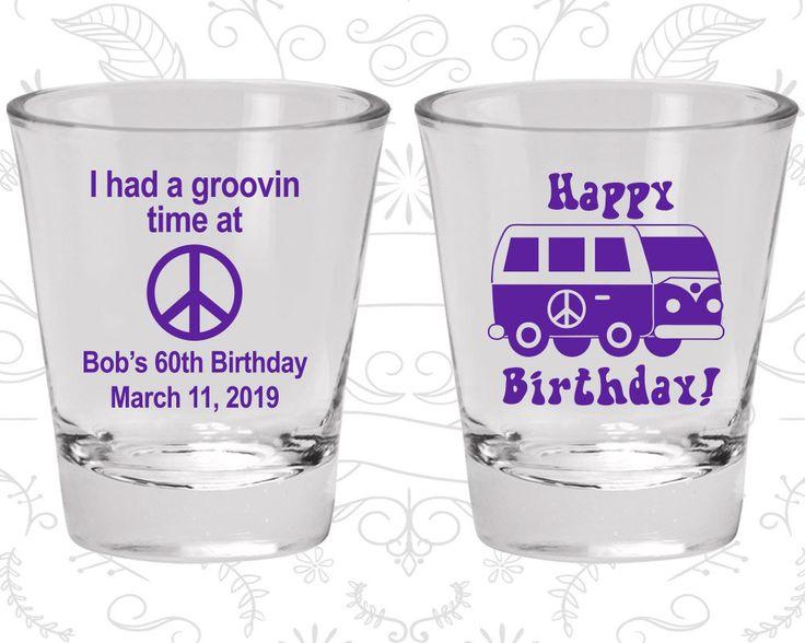 60th Birthday Shot Glasses, Cheap Birthday Glasses, Groovy Birthday, Retro Birthday, Hippie Birthday, Birthday Shot Glasses (20296)