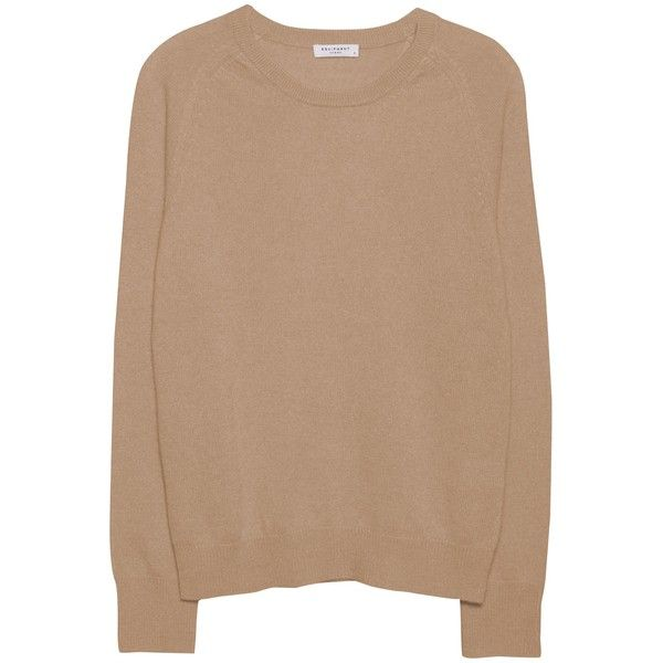 Equipment Sloane Crew Camel Women's Crewneck Cashmere Sweater ($268) ❤ liked on Polyvore featuring tops, sweaters, hauts, shirts, camel, cuff sleeve shirt, crew-neck sweaters, equipment shirts, beige shirt and camel shirt