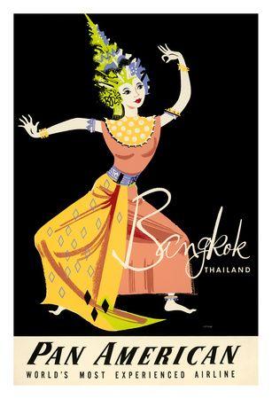 Bangkok, Thailand - Pan American Airlines (PAA) - Thai Woman Classical Dancer Lámina giclée por A. Amspoker en AllPosters.com.ar.