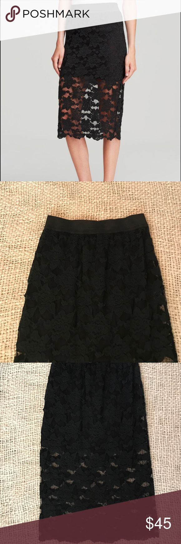 "Free People black lace pencil skirt size S Adorable Free People lace pencil skirt. Length is 28.5"" long, lace liner is almost 16"" long. Good used condition. Free People Skirts Pencil"