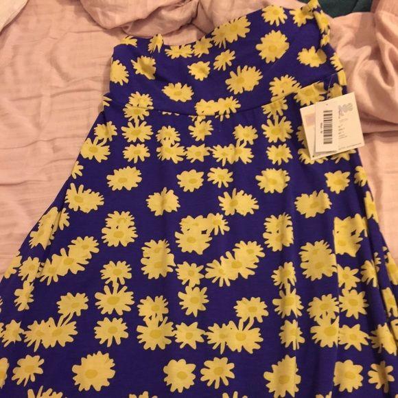 Lularoe Maxi Deep purple Lularoe Maxie with yellow daisy's, brand new with tags LuLaRoe Skirts Maxi