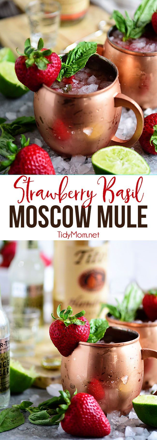 Strawberry Basil Moscow Mule is the perfect summer cocktail. It's a traditional Moscow Mule with vodka, fizzy ginger beer and lime, that gets fresh strawberries and basil muddled into the mixture. Print the full recipe at TidyMom.net