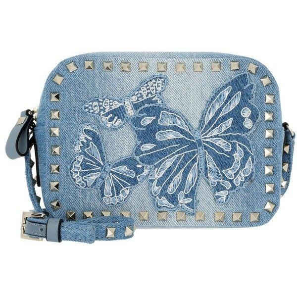 Valentino Shoulder Bag - Rockstud Camera Crossbody Bag Denim Newstyle... ($1,425) ❤ liked on Polyvore featuring bags, handbags, shoulder bags, blue, purse shoulder bag, handbag purse, purse crossbody, shoulder strap bags and shoulder handbags