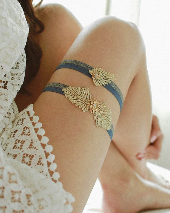 Gold rhinestone wedding garter navy blue and gold by louloudimeli