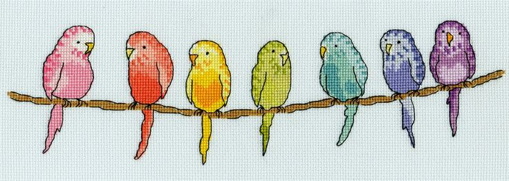 Row of Budgies Cross Stitch Kit by Bothy Threads This  fabulous row of Budgies counted cross stitch kit is a design by June Armstrong for Bothy Threads.  The kit contains; 16 count ice blue Zweigart Aida, pre-sorted stranded cottons, gold plated needle, stitch diagram and instructions.  Finished size 30 x 10cm.  This kit uses full cross stitches, back stitch and a few French knots.