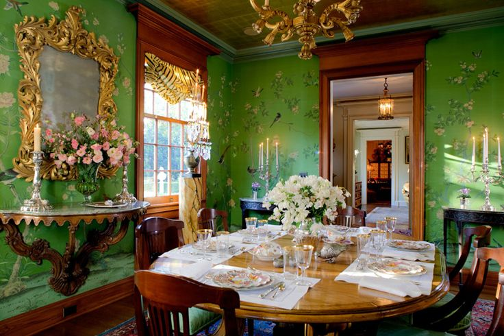 Hand-painted silk wallpaper, 22k gold leaf ceiling and French 1940's gilt wood chandelier.