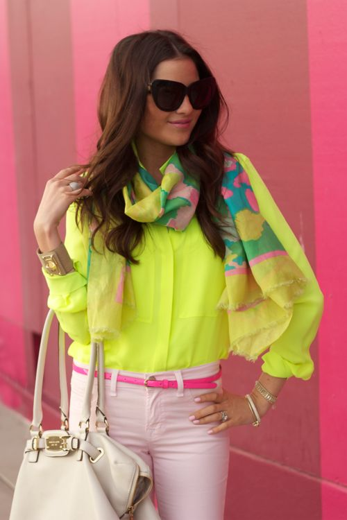 a pocketful of daisies: Blouses, Fashion Style, Color, Pink Pants, Pastel Pink, Scarves, Pink Peonies, Belts, Neon Yellow