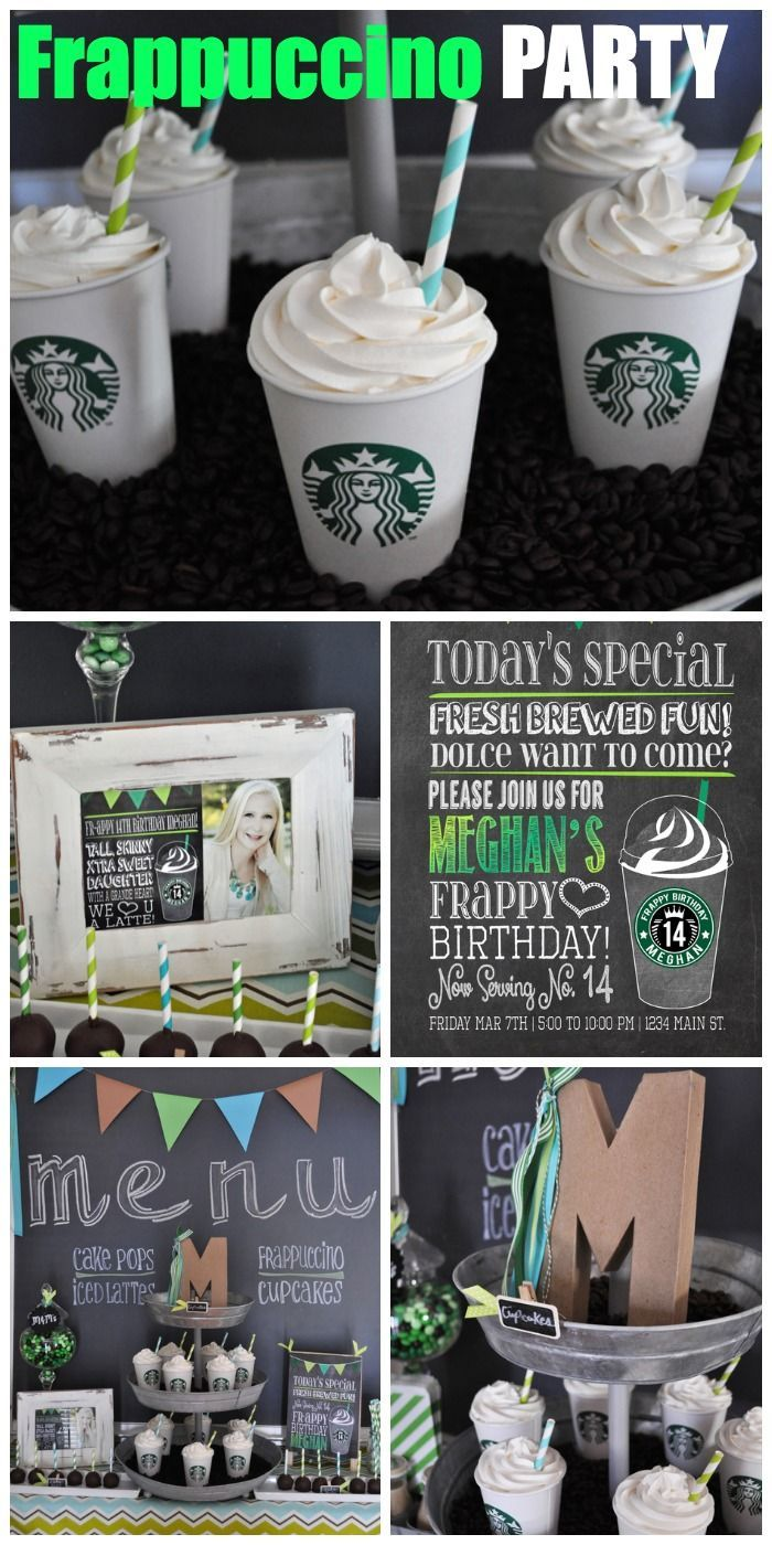 How cool is this Starbuck's Frappuccino birthday party for a teen girl! Love the cupcake Frappuccinos! See more party ideas at CatchMyParty.com. #starbucks