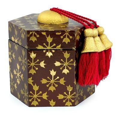 Decorative wood box, 'Brown Thai Jasmine' - Gilded Six-Sided Decorative Box