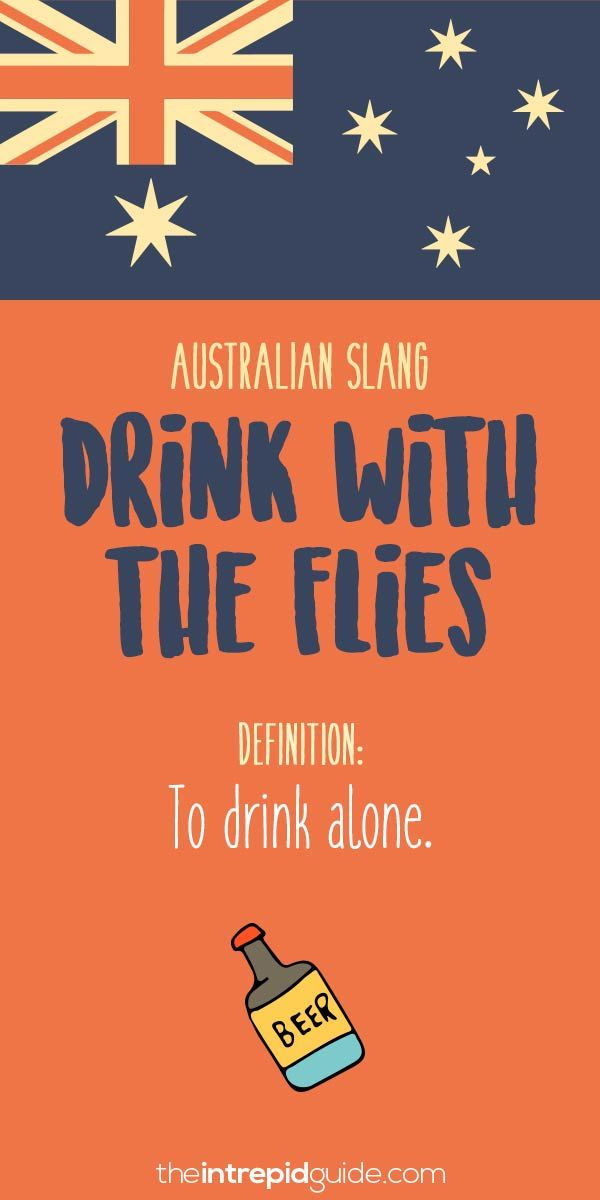 Aussie Slang Funny - Australian Slang  - drink with the flies