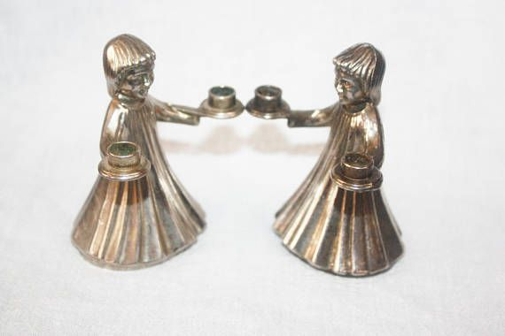 Vintage Pair Silverplate Small Candle Holders Italian Choir