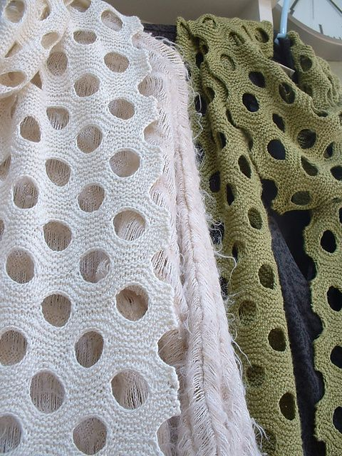 Swiss Cheese Scarves [lol] Made w/ Silky Bamboo Yarns #knit #free_pattern