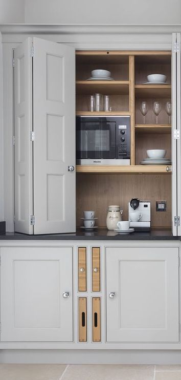 1) clever use of space 2) for the inner scullery wall in the kitchen