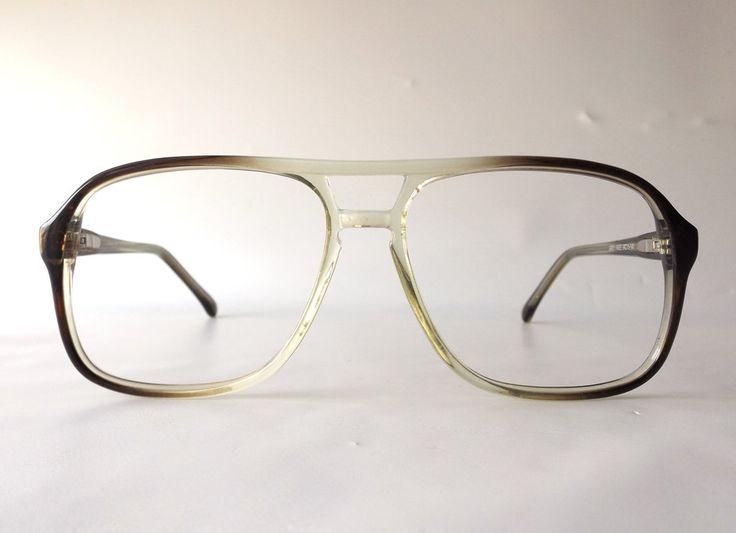 frames for glasses online 5q08  Vintage 80's double bridge eyeglasses frames oversized retro eye glasses  eyewear optical used plastic translucent brown fade men man guy old