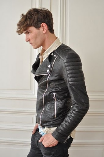 Black leather jacket from Balmain Homme Spring/Summer 2012