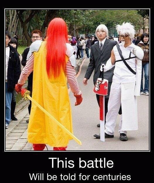 McDonald's Sephiroth vs. KFC's Cloud...Cosplayers' crossover costumes can get...interesting...