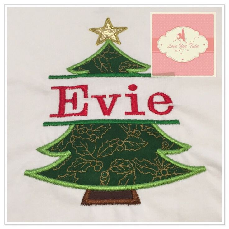 Embroidered Personalized Christmas tree T-Shirt